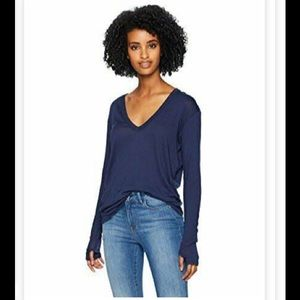 Bongo V-neck Wrap Top Ruched Long Sleeve Navy New